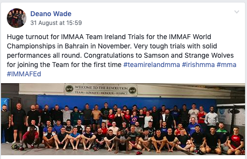 Team Ireland Squad selection for 2019 IMMAF-WMMAA World Championships announced